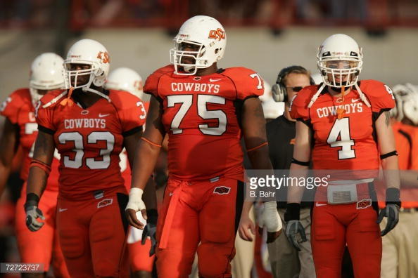 Corey Hilliard (75) helped anchor the offensive line of some prolific Oklahoma State offenses from 2003-06.