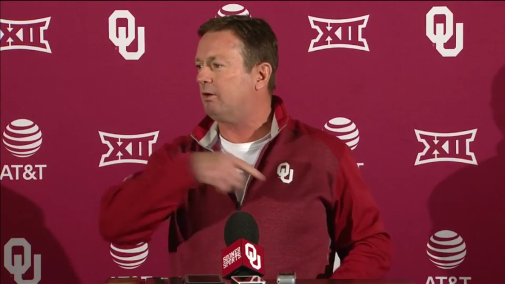"""OU coach Bob Stoops doesn't sound too worried about new Texas coach Tom Herman. """"I'm sure he'll do a great job,"""" Stoops said."""