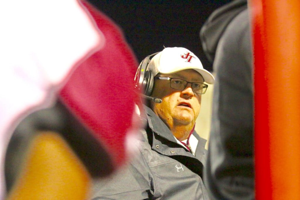 Jenks coach Allan Trimble, who has ALS, told The Franchise he doesn't know yet whether Friday's 45-21 playoff loss to rival Union is his last game or not. (PHOTO: John E. Hoover)