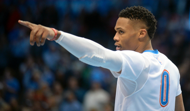 Feb 11, 2016; Oklahoma City, OK, USA; Oklahoma City Thunder guard Russell Westbrook (0) points into the crowd prior to action against the New Orleans Pelicans at Chesapeake Energy Arena. Mandatory Credit: Mark D. Smith-USA TODAY Sports