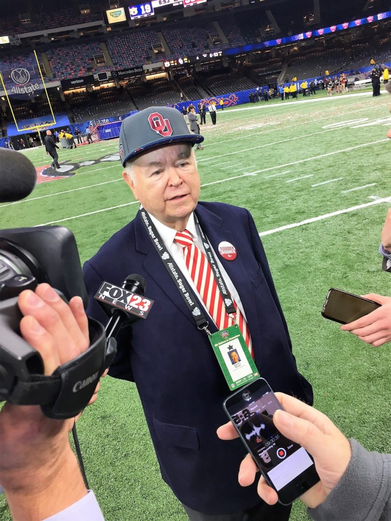 OU president David Boren spoke with the media on Monday night, just minutes after the Sooners beat Auburn in the Sugar Bowl. (PHOTO: John E. Hoover)