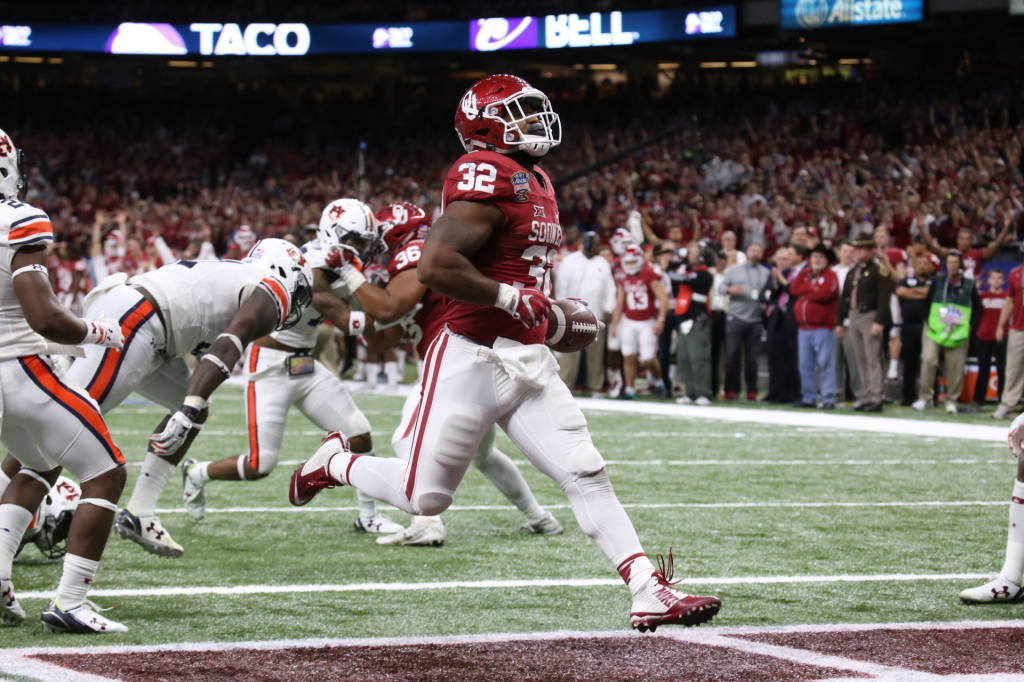 Samaje Perine ran for 86 yards in Oklahoma's 35-19 victory over Auburn in the Sugar Bowl and became the school's all-time leading rusher with 4,122 yards. (PHOTO: OU media relations)