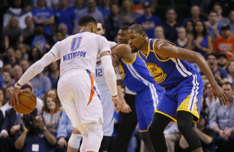 Russell Westbrook versus Kevin Durant went Durant's way again on Saturday night at Chesapeake Arena as the Golden State Warriors blew out the Thunder 130-114.