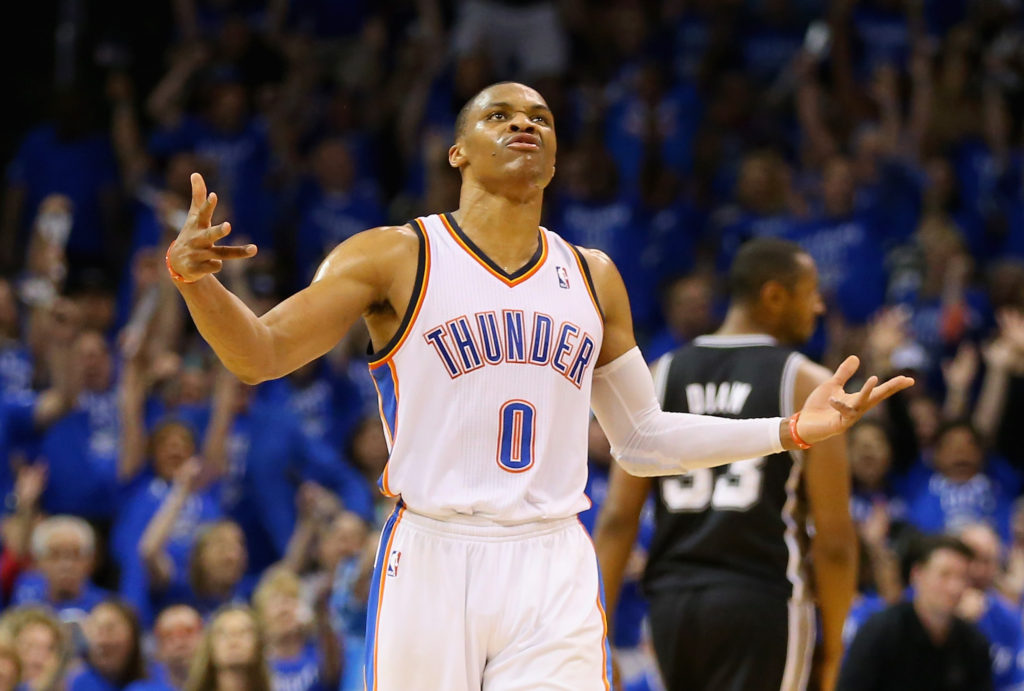 """Russell Westbrook said at shootaround today that """"things happen"""" like players leaving, but any reconciliation with Kevin Durant is """"not really up to me."""""""