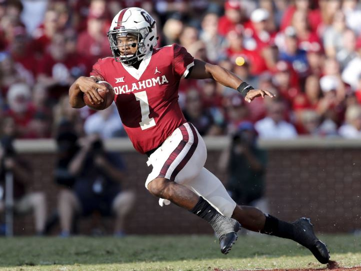 d951326da Oklahoma quarterback Kyler Murray served a brief suspension and then struck  a pose on the way to another historic day in the Sooners  66-33 victory  over ...